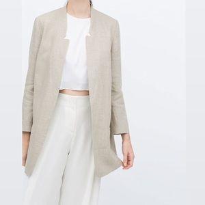 Zara | Rustic Linen Collarless Blazer in Cream